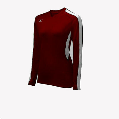 b4f63eb89 Mizuno 440398.1200 women's burgundy volleyball L/S shirt XXS (G84)