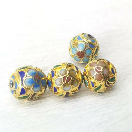 VTG Bright Gold Mixed Flower Champleve Cloisonne Chinese Enamel 10mm 4Beads