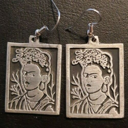 Pewter Mexican Artist Frida Kahlo Earrings, Mexico