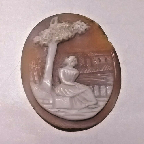 Vintage Carved Shell Woman Under Tree Loose Cameo 32.7x40mm
