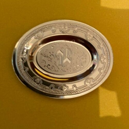 Dollhouse miniature vintage sterling silver Huguenot Period plate,  1:12
