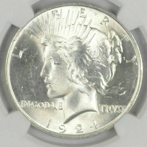 (1) BU $1 1924 Peace Silver Dollar Dripping with luster Unc MS 90% Bulk & Save