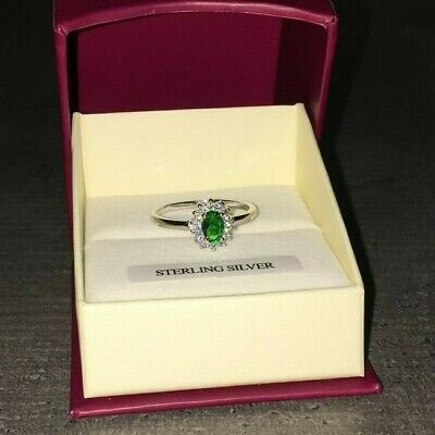 Sterling Silver Royal Cluster style Ring created Emerald & Diamonds Sizes L - P