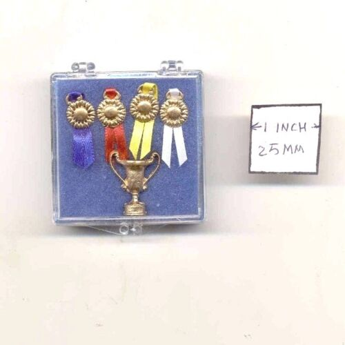 Trophy / Ribbon Set - 1/12 scale dollhouse cast metal miniature ISL5011