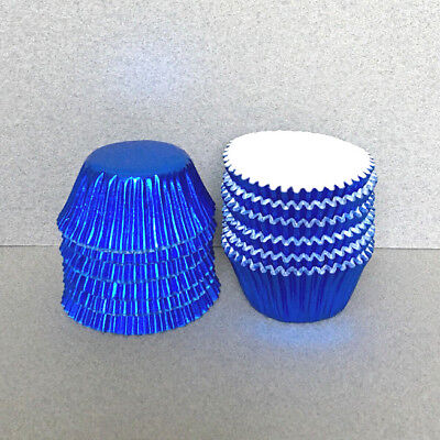 MINI Blue Foil Cupcake Liners, Blue Mini Cupcake Wrappers, Blue Candy Cups