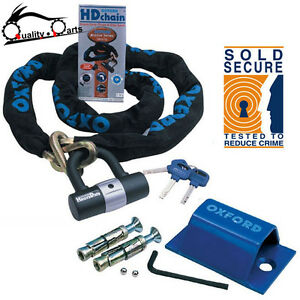 SOLD SECURE 1.5M OXFORD HD Motorbike Motorcycle Chain Lock + Ground Anchor