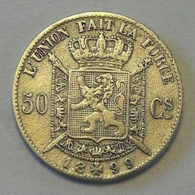 50 Cents 1899 Vlaams NL  * Pr.  * LEOPOLD II  Belgïe Belgique LA#BFM-67
