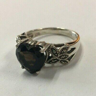 Sterling Silver Ring w/Smokey Topaz Heart Stone & Marcasite Accents Sz 8 [020DUA Smokey Topaz Stone