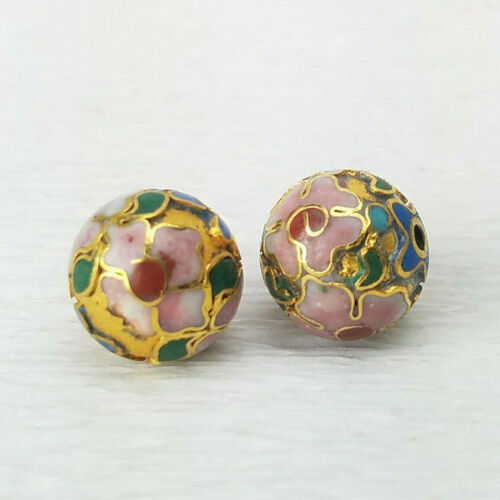 Champleve Gold w Pink Flower Blue Cloisonne Chinese Enamel 12mm 2PCs