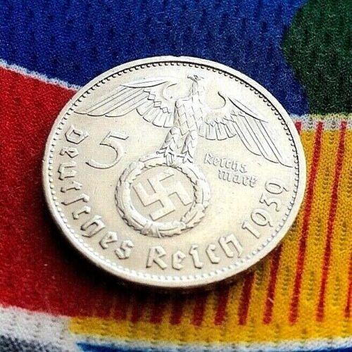 1939 B 5 Mark WW2 German Silver Coin Third Reich  Reichsmark