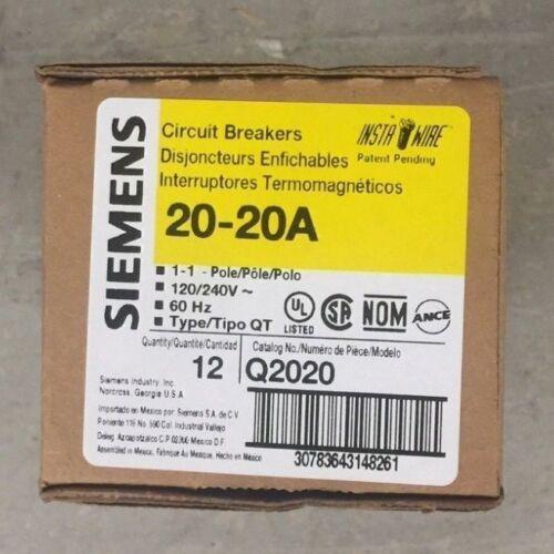 SIEMENS Q2020 20/20A 120/240 Volt Tandem Circuit Breakers (12 Pack) BRAND NEW