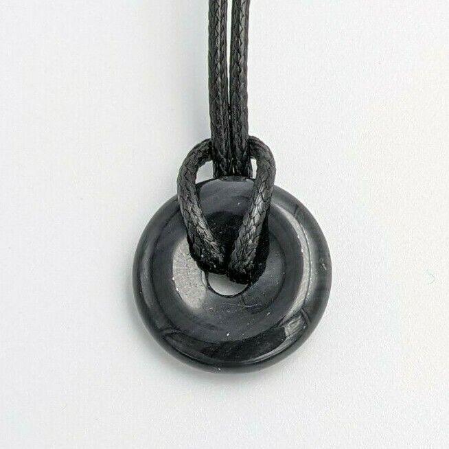 pendentif donuts 2cm pierre obsidienne oeil celeste