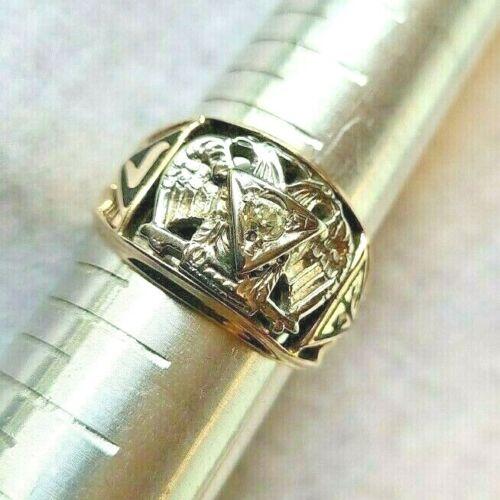 10K Gold 32nd Degree Masonic Ring w/Diamond Size 10 1/2