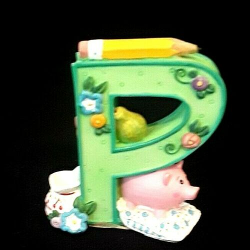 """Mary Engelbreit Alphabet Letter """"P"""" Retired Resin Stand Up 1999 Pig/Pear/Pencil"""