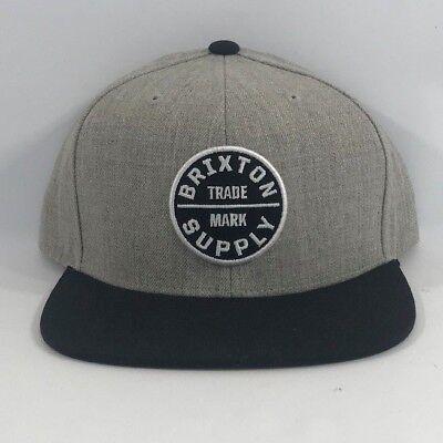 NWT Brixton Supply Trade Mark Cap Hat Adjustable Oath III Snapback Grey/Black OS