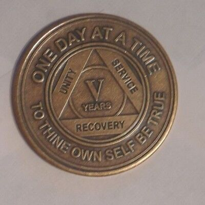 NEW aa bronze alcoholics anonymous 5 year sobriety chip coin token medallion for sale  Philadelphia