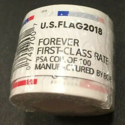 10 Rolls /Coils of 2018 or 2017 US FLAG FOREVER Stamps. 1000 Total