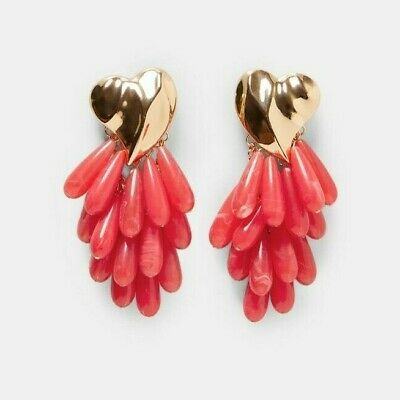 Zara Contrasting Heart Beaded Dangle Earrings - New with tags - Sold Out - Rare