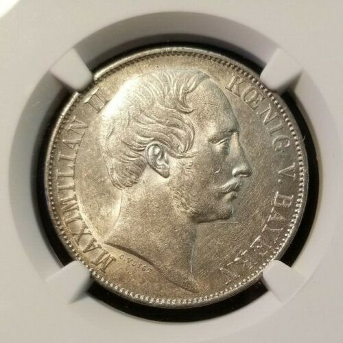 1860 GERMANY SILVER TALER BAVARIA NGC AU 55 SCARCE NON PROBLEM COIN