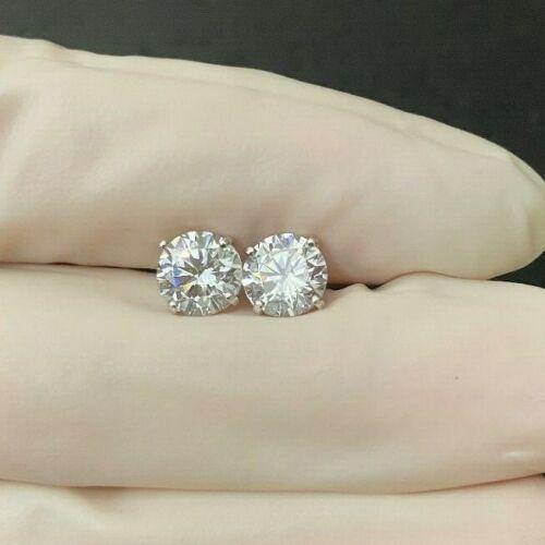 2.00CT ROUND CUT LAB DIAMOND EARRINGS 14K White GOLD STUDS SCREW-BACK MEN WOMEN