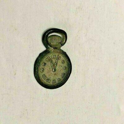 Vtg 1920 CRACKER JACK Pocket Watch Clock METAL SILVER Toy Prize Gumball Premium