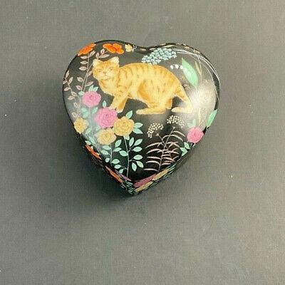 "Vintage Kitty Heart Shaped Trinket Box Yellow Tabby Cat Flowers Japan 3"""