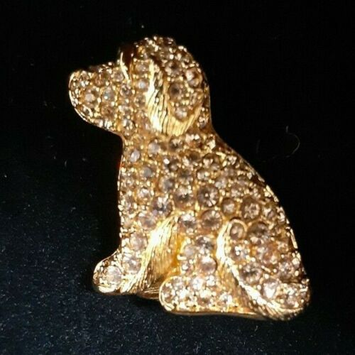 Swarovski Gold Crystal Dog Puppy Pin Brooch with Pouch