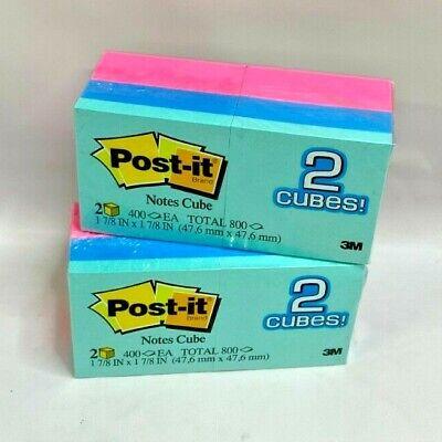 Lot Of 2 Post-it Notes Cube 2 Cubes Per Pack 400 Sheets Per Cube Pink Blue