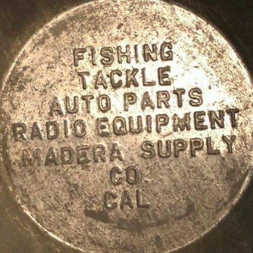 Vintage Steel Madera Supply Co. Fishing Tackle Radio Eqp. Bait Cup? c1920