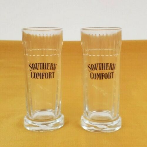 """Southern Comfort 6"""" Barware Whiskey M W Heron Glasses Long Drink Relief Writing"""
