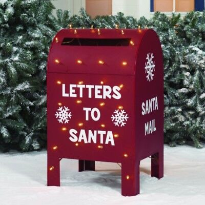 "Christmas Lighted Outdoor Decoration 32""Santa Mailbox Front Yard Lawn Xmas Decor"