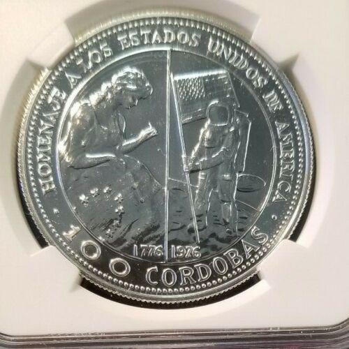 1975 NICARAGUA SILVER 100 CORDOBAS USA BICENTENNIAL NGC MS 65 SCARCE COIN