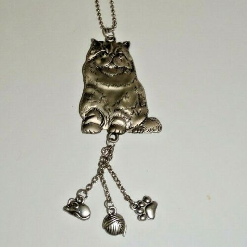 New Ganz Metal Rear View Mirror Car Charm Persian Cat with Mouse Pawprint Yarn