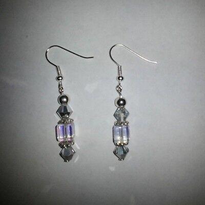 Handmade Cube (Handmade Glass Cube Beads Gold Plated Fishhook Earrings )