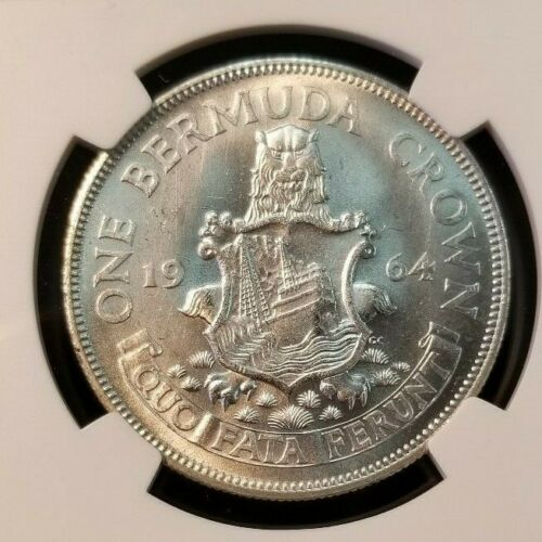 1964 BERMUDA SILVER CROWN NGC MS 65 NICE SMOOTH LUSTER BRIGHT GEM BU COIN