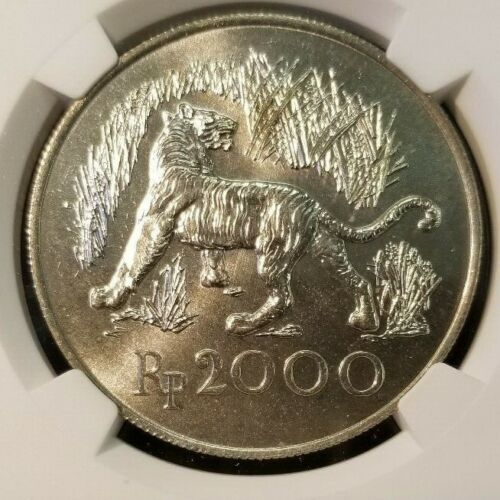 1974 INDONESIA SILVER 2000 RUPIAH S2000R JAVAN TIGER NGC MS 66 HIGH GRADE BEAUTY
