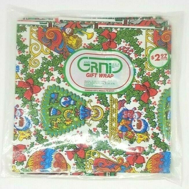 Vintage Gift Wrap Holiday Wrapping Paper G&R GRNI, 29 Sq. Ft