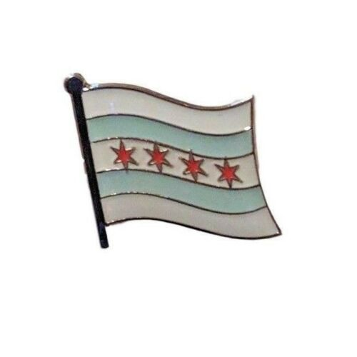 Chicago Illinois Flag Lapel Pin 16mm x 19mm Hat Tie Tack Badge Pin Free Shipping