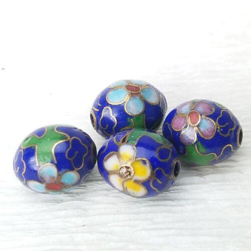 Vintage Unusual Dk Blue Mixed Flowers Cloisonne Chinese Enamel 11xmm Oval 4Beads