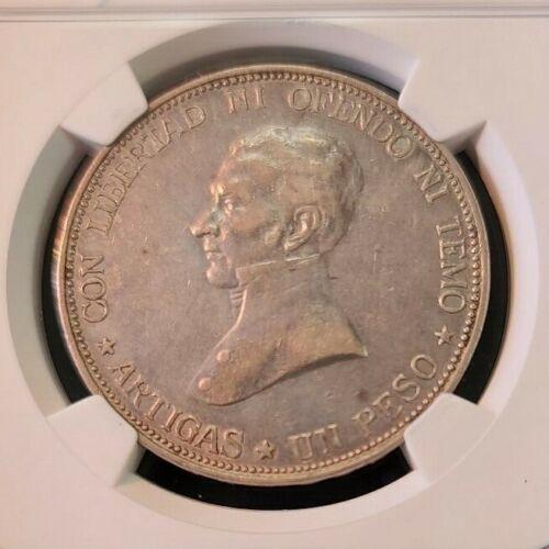 1917 URUGUAY SILVER PESO NGC XF 45 BEAUTIFUL SCARCE NON PROBLEM COIN
