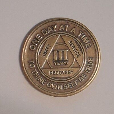 aa new alcoholics anonymous bronze 3 year recovery sobriety coin token medallion, used for sale  Philadelphia