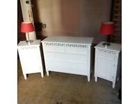beautiful small ornate chest of drawers with bedside tables and lamps can deliver