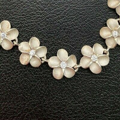 NWT HAWAIIAN Plumeria Sterling Silver 10mm Link Bracelet w/Cubic Zirconia (Hawaiian Center)