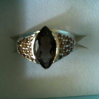 5.15CT NATURAL SMOKY QUARTZ & CITRINE COCKTAIL SILVER RING SIZE 8 Beautiful Ring Marquise Smoky Quartz Ring