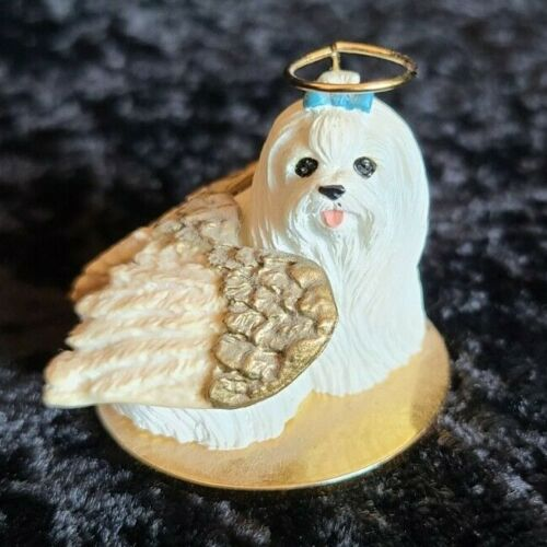 Vintage Maltese dog Tiny Ones white w/ blue bow angle puppy collectible figurine