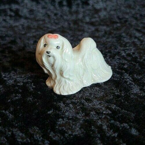 Vintage HAGEN RENAKER Maltese dog white w/ red bow ceramic collectible figurine