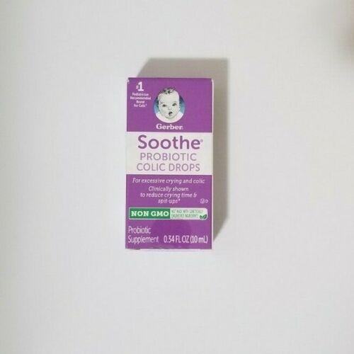 New Sealed Gerber Soothe  Probiotic Colic Drops  0.34oz Exp. 2/20-6/20