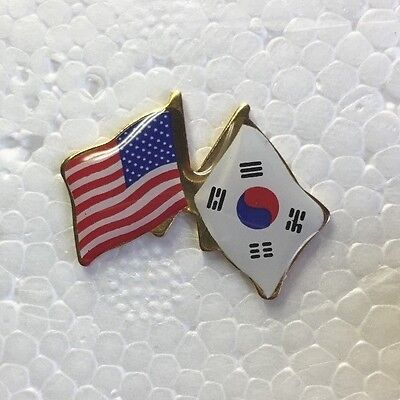 - USA and South Korea Crossed Friendship Flag Lapel Pin **MADE IN USA**