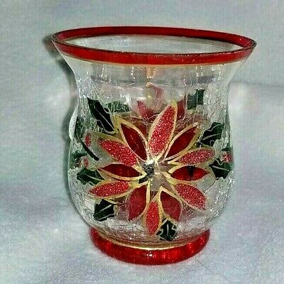 Christmas Crackle Glass Poinsettia Candle Holder by Yankee, MINT