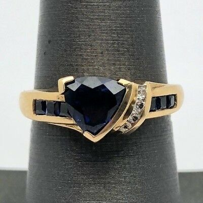 Sterling Silver 925 Vermeil Trillion Sapphire CZ Pave Channel Set Cocktail Ring